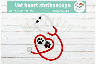 Vet doctor and nurse heart stethoscope SVG, pet cat dog paw