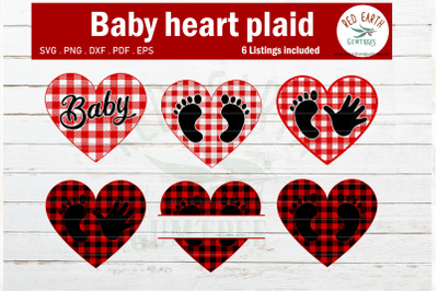 Plaid pattern baby hand and feet heart, gingham SVG,PNG,DXF