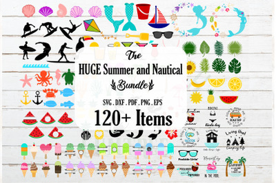 HUGE Summer, Nautical and Tropical bundle SVG, Mermaid SVG