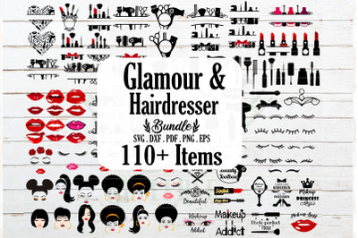 HUGE Glamour makeup hairdresser barber nail tech bundle SVG