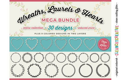 FLORAL MEGA BUNDLE SVG wreaths, laurels and hearts leaf frames - SVG DXF EPS PNG - Cricut & Silhouette - clean cutting files