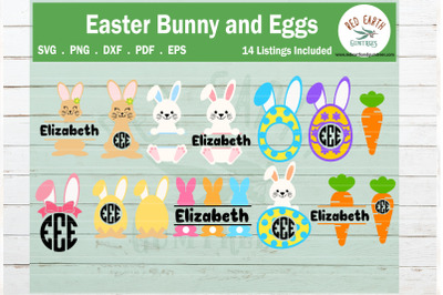 Easter bunny and eggs monogram frames bundle SVG, rabbit SVG