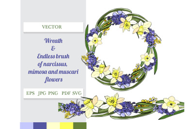 Wreath and endless brush of spring muscari and narcissus.