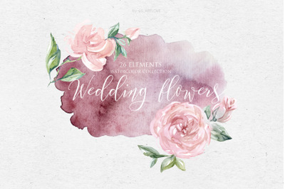 Watercolor collection Wedding Rose