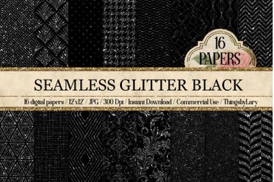 16 Seamless Glitter Black damask geometric art deco Papers