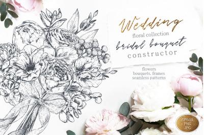 Vector wedding floral collection
