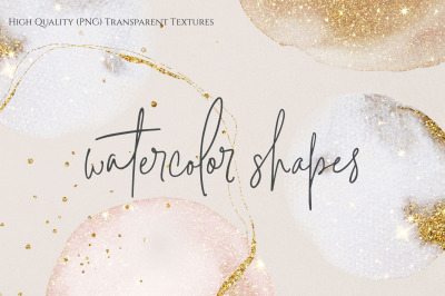 Gold Gold Watercolor Shapes (PNG) 30 Tranparent Elements