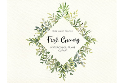 Watercolor Greenery Frame. Digital Clipart. Instant Download. Wedding