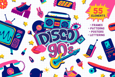 90s retro vector cartoon clipart