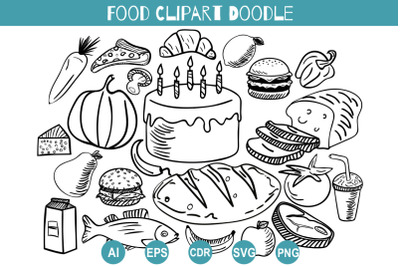Food Doodle Clipart Svg, Hand Drawn Set Delicacies