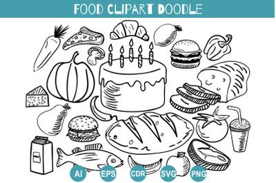 Food Doodle Clipart Svg, Hand Drawn Set Delicacies
