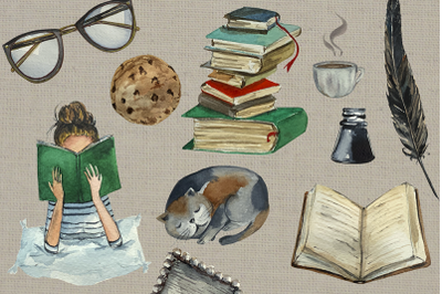 Watercolor Reading Time Clip Art Set