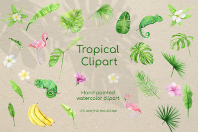 Watercolor Tropical Clipart Set. Pink flowers palm leaves and  animals