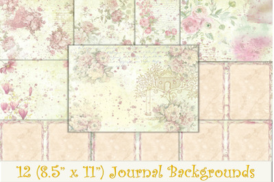 12 Shabby Chic Water Colour Backgrounds A4 Letter Size