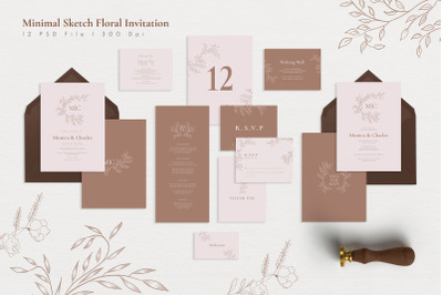 Minimal Sketch Floral Invitation Suite