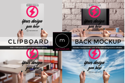 Clear Clipboard Back with Hands | Mock Up