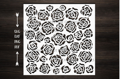 Floral roses square pattern stencil svg dxf laser cut file template