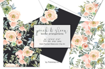 Peach & Green Watercolor Floral Border Arrangements