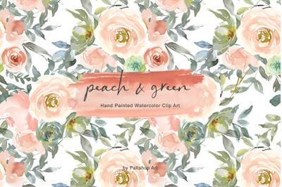 Peach & Green Watercolor Floral Clip Art Set