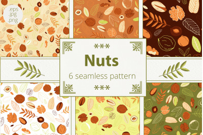 Nuts. Seamless patterns