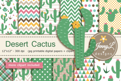 Cactus Digital Papers & Clipart