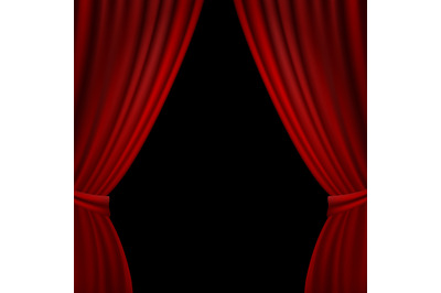 Stage Opened Red Curtain