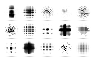 Circle halftone. Abstract dotted circles&2C; round halftones geometric do