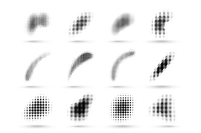 Abstract halftone shapes. Liquid shape with dotted halftones gradient