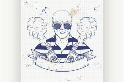 Sketch of hipster with a vaporizer cigarette