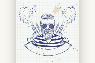 Sketch of hipster with a vaporizer cigarette 1