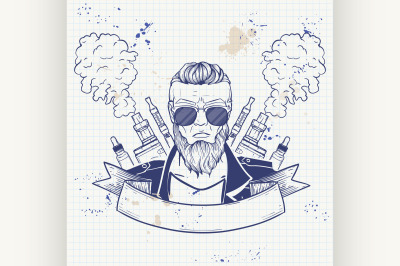 Sketch of hipster with a vaporizer cigarette 3