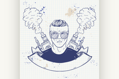 Sketch of hipster with a vaporizer cigarette 4