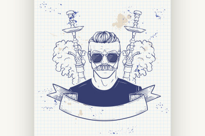 Sketch of hipster with hookah on a notebook 5