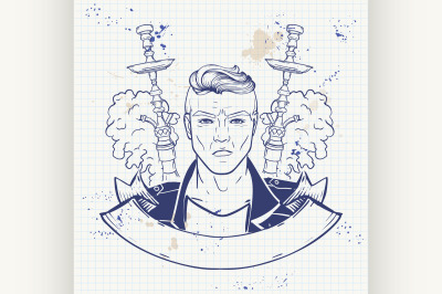Sketch of hipster with hookah on a notebook 6