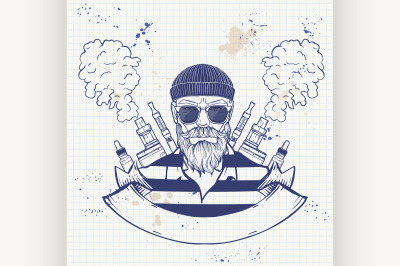 Sketch of hipster with a vaporizer cigarette 7