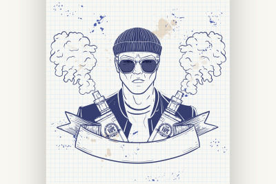 Sketch of hipster with a vaporizer cigarette 8