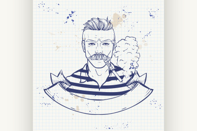 Sketch of hipster with a vaporizer cigarette 9