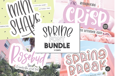 SPRING FONT BUNDLE - 4 Hand Lettered Fonts