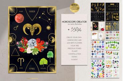 Horoscope Zodiac Creator. 350 astrology illustrations