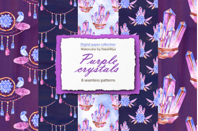 Boho purple crystals digital papers