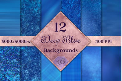 Deep Blue Backgrounds - 12 Image Textures Set