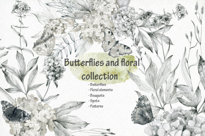 Butterflies and floral collection.