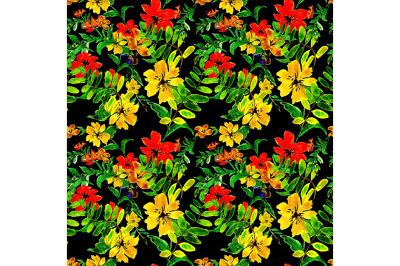 Seamless flowers pattern on black background.