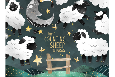 Watercolor Counting Sheep Clipart