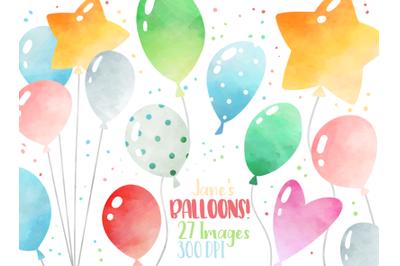 Watercolor Balloons Clipart