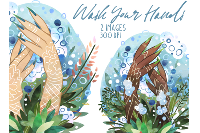 Watercolor Wash Your Hands Clipart