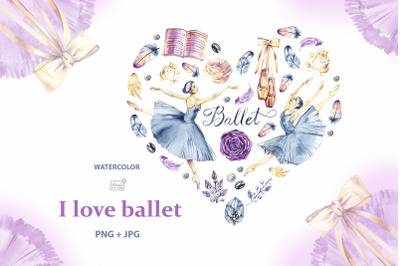 Watercolor ballerinas heart