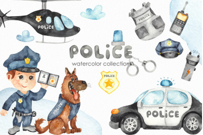 Watercolor Police Clipart. Car, helicopter, motorcycle, dog, equipment