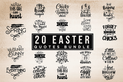 20 Easter Quotes Bundle Vol.2 - Easter SVG Cut Files
