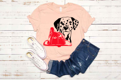 Firefighter Dalmatian hat dog head Silhouette SVG department 1695s